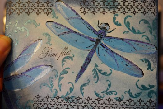 Time Flies - Dragonfly Postcard by evilpokejuggalette
