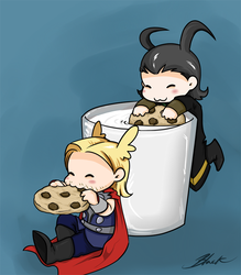 Mini Thor and Loki - Milk And Cookies by caycowa