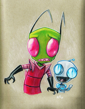 Prismacolor Zim and Gir by Skeleion