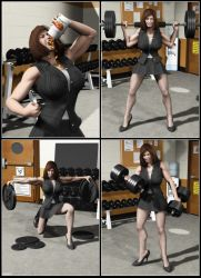 Silent Muscle Giantess Comic 09 by Stone3D