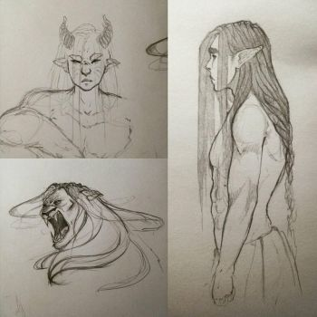 Aradoth character design - sketches by Insoulmniac