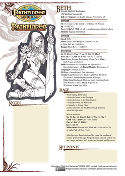 Pathfinder Beth the Barbarian by plober