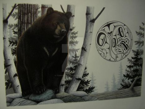 Black bear, Moon design by Towinckdesigns