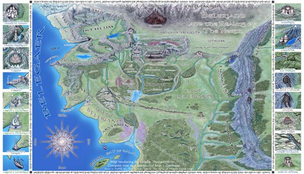 Map Of Beleriand Beleriand and Realms of The North by Sirielle on DeviantArt Map Of Beleriand