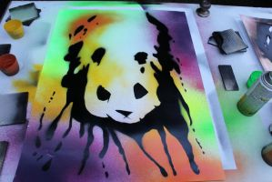Panda Love Spray paint by lukederic