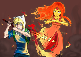Adventure Time:Finn And Flame Princess by Chrono-King