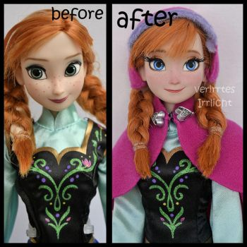 repainted ooak snow gear classic anna doll. by verirrtesIrrlicht