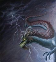 Storm dragon -painting by Spyrre
