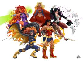 All the DC ladies by Ilustrandole
