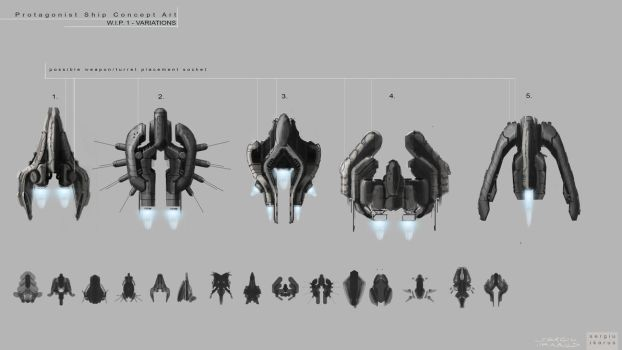 TopDown shooter ship concepts by ikarus-tm