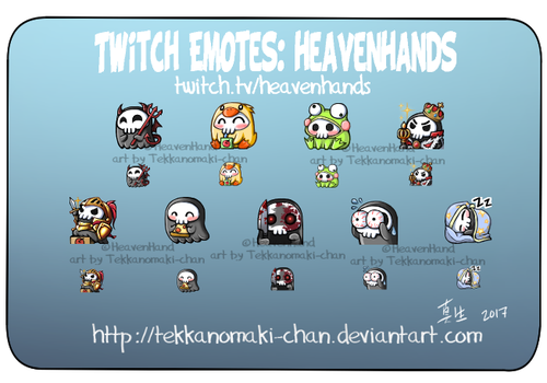 Commission: Twitch Emotes for HeavenHands by TekkanoMaki-chan