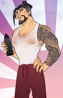 moist workout Hanzo. by Jellygay