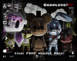 (MMDxFNaF) NEW!Chibi FNaF Model Packs DL! by Smol-Hooman