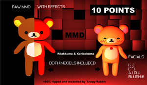 MMD - Rilakkuma . Korilakkuma [download for point] by Trippy-Rabbit