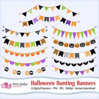 Halloween bunting banners clipart by PolpoDesign