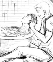 Destiel: Bath by MATneeneeluv
