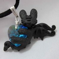 Blue Heart night fury necklace by carmendee