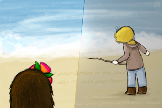 Letters in the sand by AskGomlesh