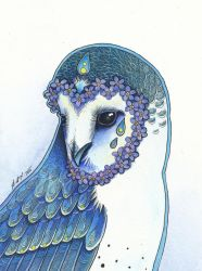 The Forget-me-not Owl by Ravenari