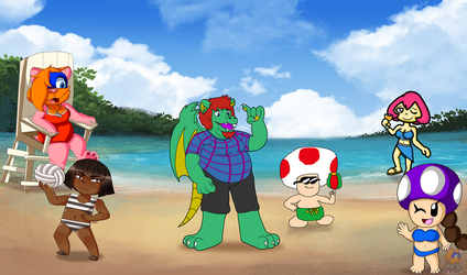 Beach Collab by HG-The-Hamster