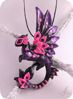 Pink spotted dragon necklace by AlviaAlcedo