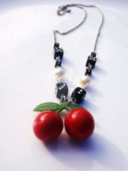 Cherry Dice + Pearls Necklace by Tattooed-Gumball