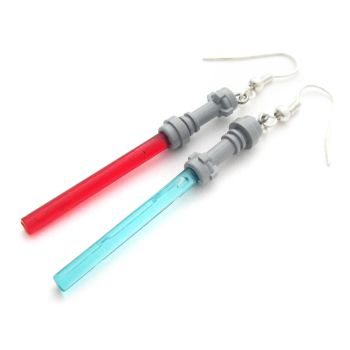 Lightsaber Lego Earrings by fairy-cakes