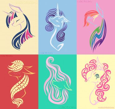 Main Six - Simplistic Tattoo Set 1 MLP by Reamin