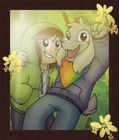 Chara and Asriel by SilentWolfz