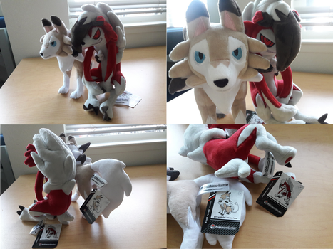 2017 US PC Midday and Midnight Lycanroc Plushies by PokeLoveroftheWorld