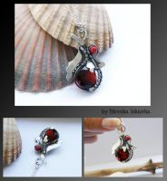 Silver Clay and wire wrapped pendant 1 by mea00