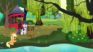 Rarity and Applejack relaxing by a pond by anarchemitis
