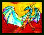 Dragon Blue green white teal yellow red magic by StephanieSmall
