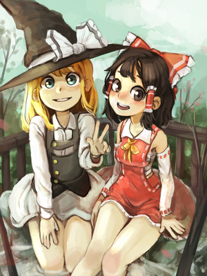 touhou Marisa and Reimu  [YouTube process] by permanentlow