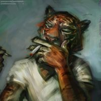 Smoking Tiger by jonathanvair