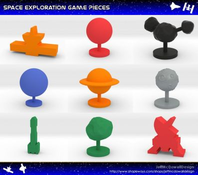Space Exploration Meeples and Game Pieces by jeffmcdowalldesign