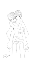 Light x L Piggyback Lineart by GothicRaine1712