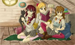 Gryffindors in the common room by m-roa