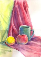 Cup, apple and lemon by jkBunny