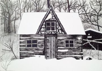 Cabin in the Snow by EdwardDrawsZombies