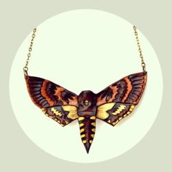 Deaths head hawk moth leather necklace by TheRavensDaughter