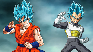 Goku and Vegeta Fukkatsu no F SSJGod SS Wallpaper by DragonBallAffinity