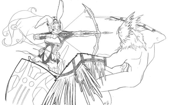 FFXII Fran vs Eagle Monster by duyvu