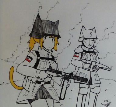 Random Military Drawing #26 - another catgirl  by MP6-Serza