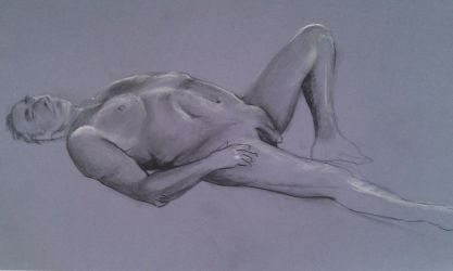 Reclining Male Nude 1 by scribbler