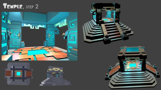 3D concept art V2 - The temple by Maka by PhaethonGames