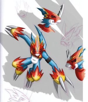 Flamedramon Sketch by Dogwhitesector