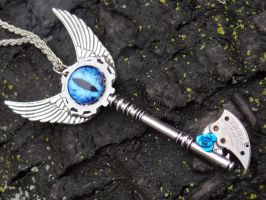Steampunk Evil Eye Necklace by Hiddendemon-666