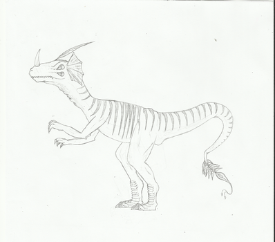 4 eyes-feathered-velocirraptor with a horn by x-Madero-x