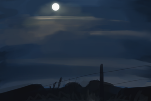 Plein Air: Moonlit sky by DarkFlame75